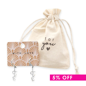 Gift deal 4 | linen jewellery bag + set of stainless steel earrings Love